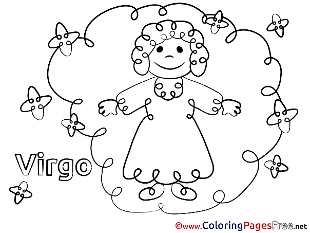 Virgo Happy Birthday Coloring Pages free