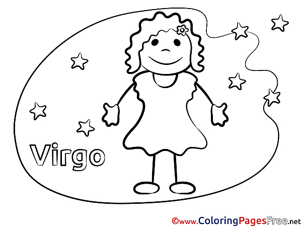 Virgo Kids Happy Birthday Coloring Page