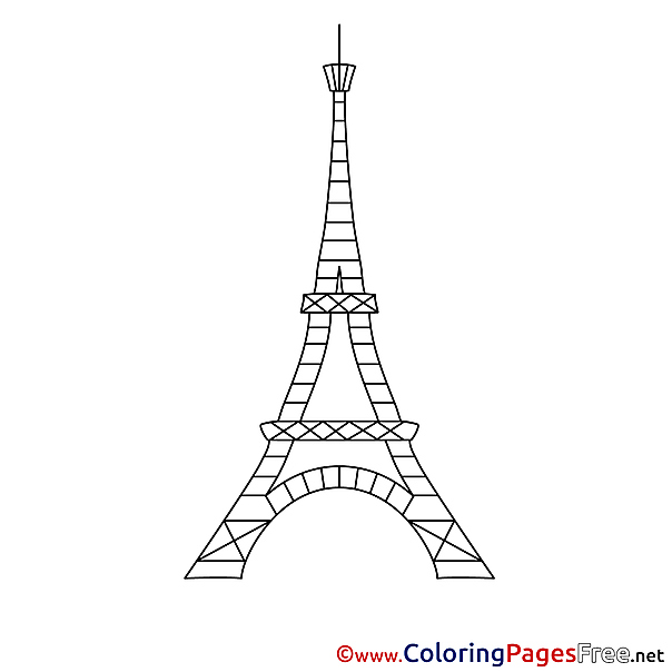 Eiffel Tower Children download Colouring Page