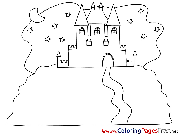 Night Castle Colouring Page printable free
