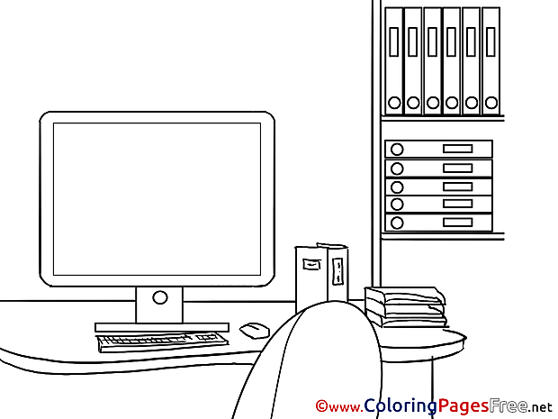Computer Colouring Page Business free