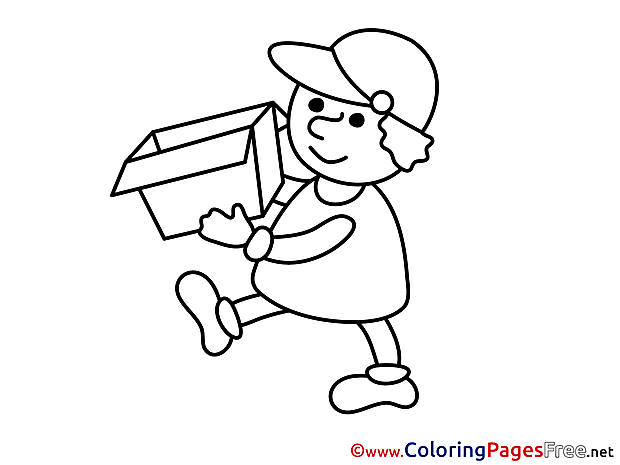 Delivery Kids Business Coloring Page