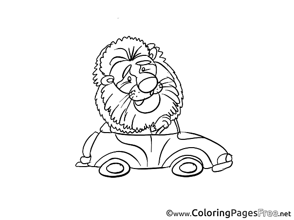 Lion Car free Colouring Page download