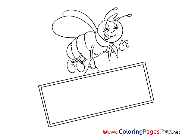 Bee Children download Colouring Page