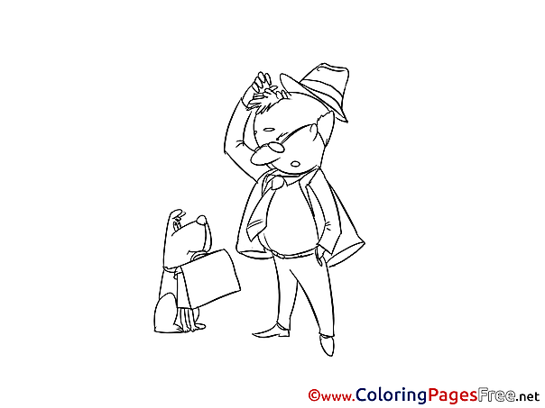 Briefcase Colouring Sheet download free
