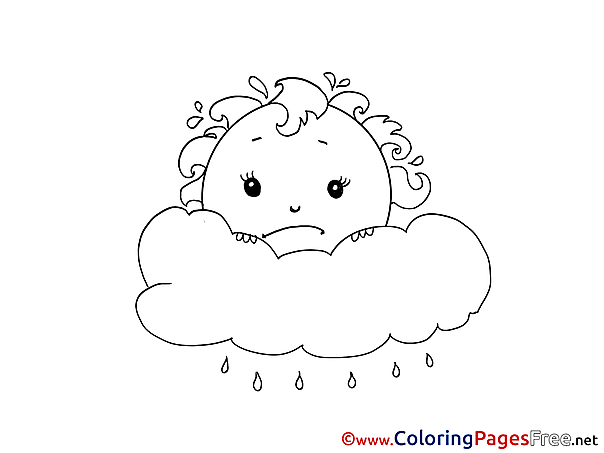 Cloud download Colouring Sheet free