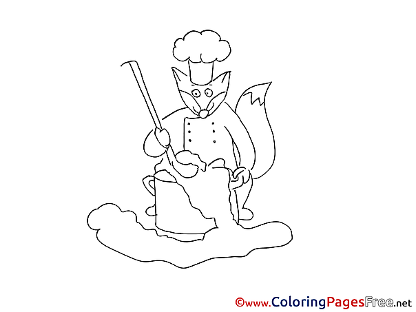 Fox Children download Colouring Page