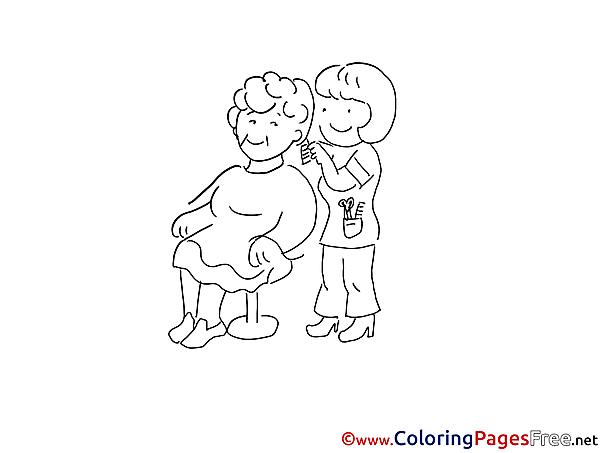 Haircut Colouring Page printable free