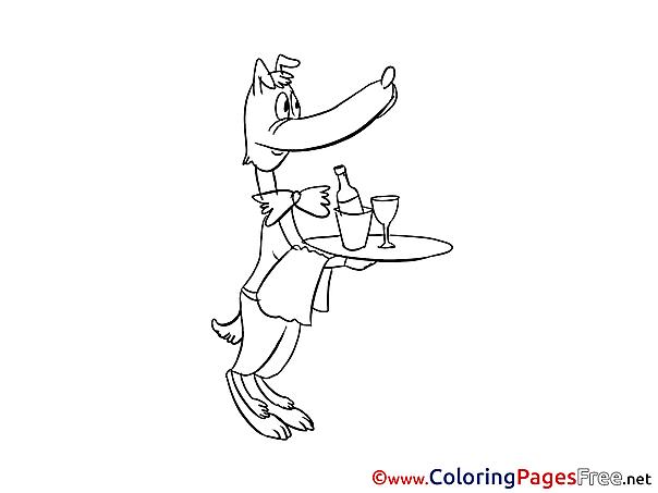 Waiter Colouring Sheet download free
