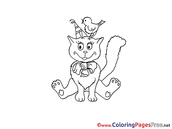 Bird Cat Kids free Coloring Page