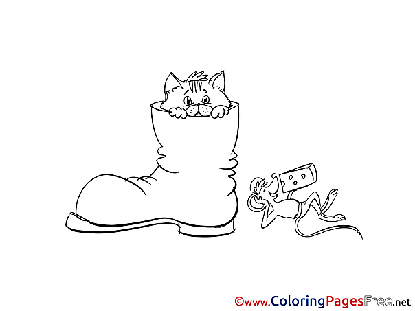 Boot Cat free Colouring Page download