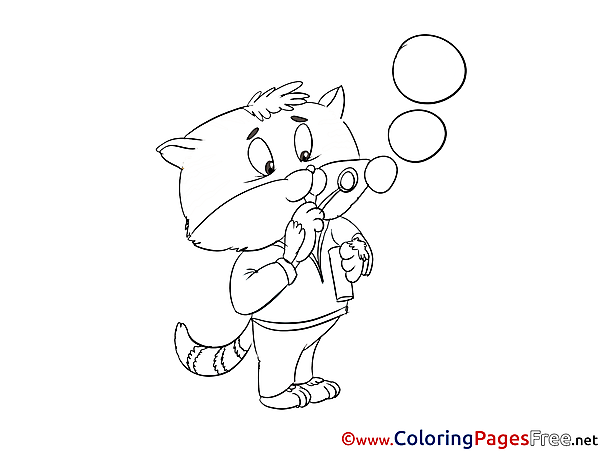 Bubbles Cat Children Coloring Pages free