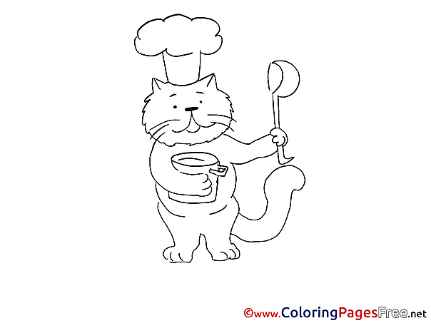 Cook Cat download Colouring Sheet free