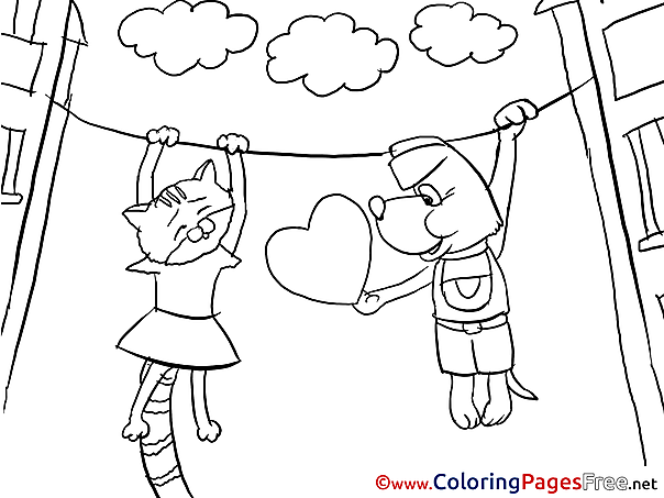 Dog Cat Colouring Sheet download free