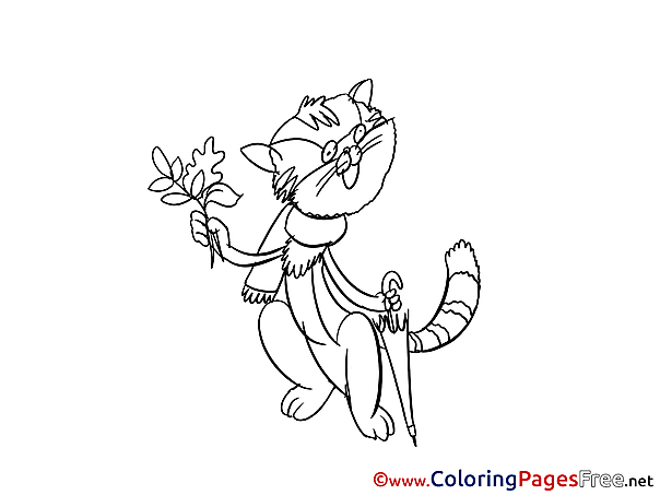 Flower Cat Kids download Coloring Pages
