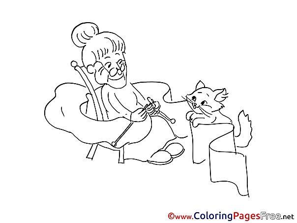 Grandmother Cat Coloring Sheets download free