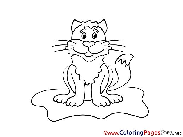 Happy Cat Colouring Sheet download free