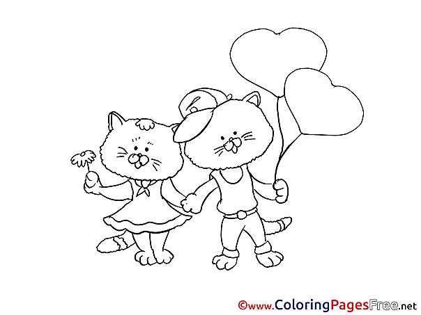 Hearts Cat for Kids printable Colouring Page