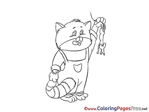 Mouse Cat Children download Colouring Page