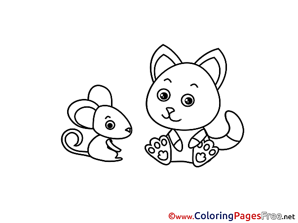 Mouse Cat printable Coloring Pages for free