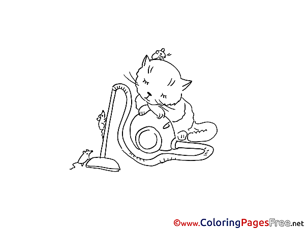 Rat Cat download Colouring Sheet free