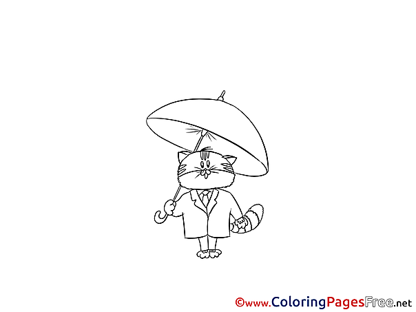 Umbrella Cat for free Coloring Pages download