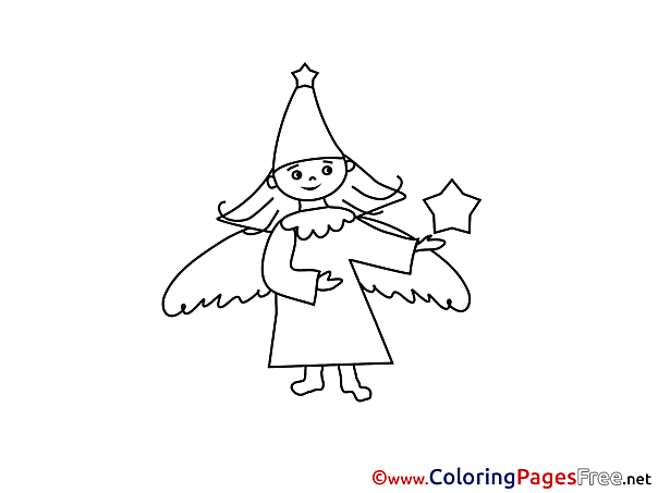 Angel Christmas free Coloring Pages