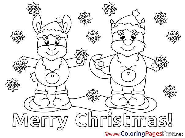 Animals Coloring Sheets Christmas free