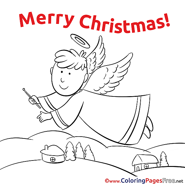 Boy Angel Colouring Page Christmas free