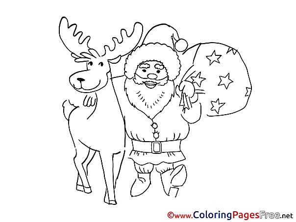Deer Kids Christmas Coloring Pages