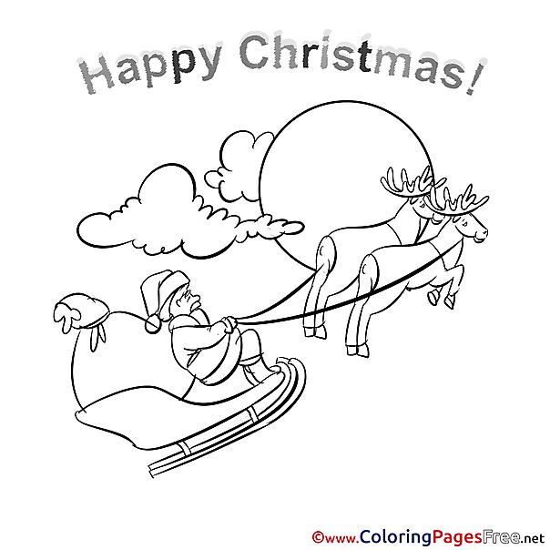 Deers Kids Christmas Coloring Pages