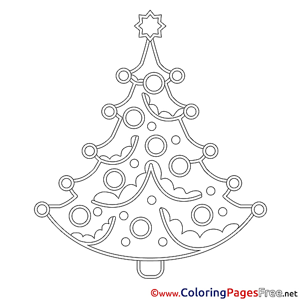 Drawing Tree free Colouring Page Christmas