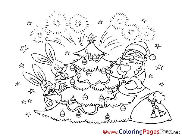 Firework printable Christmas Coloring Sheets
