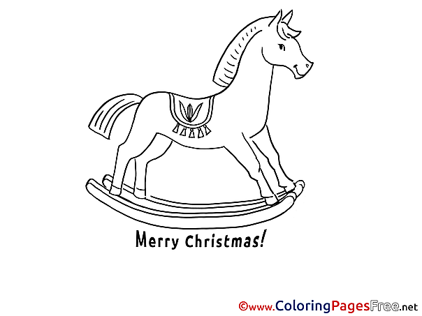 Horse Kids Christmas Coloring Page