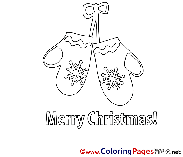 Mittens Children Christmas Colouring Page