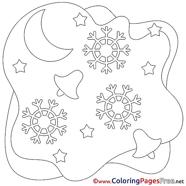 Moon free Christmas Coloring Sheets