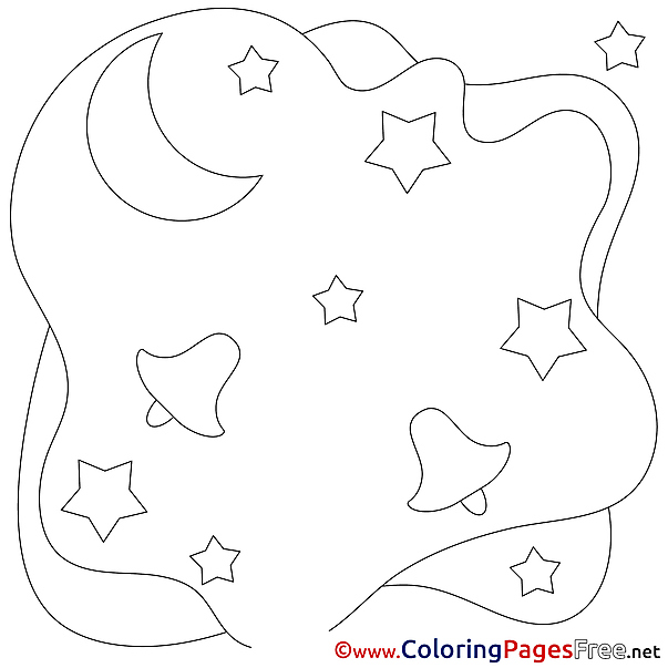 Moon printable Coloring Pages Christmas