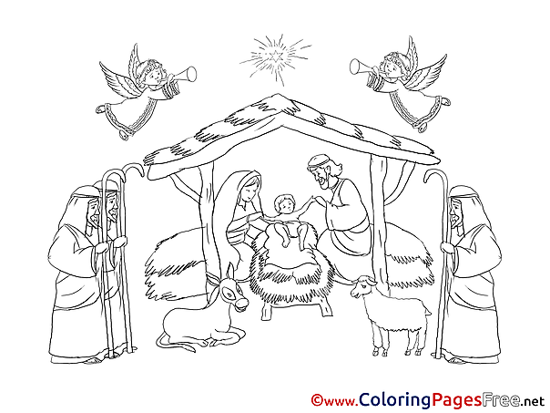 Nativity free Colouring Page Christmas