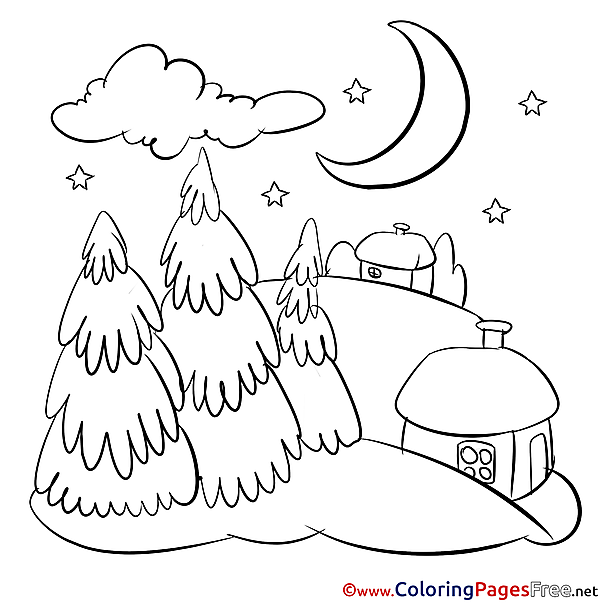 Night Kids Christmas Coloring Pages