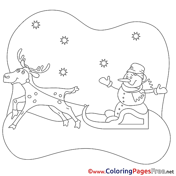 Sleds free Christmas Coloring Sheets