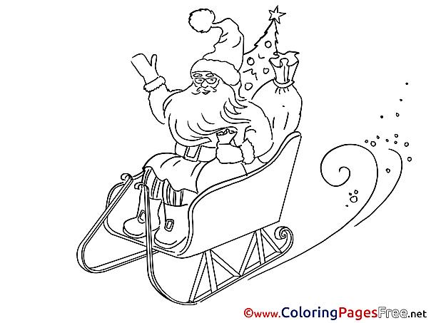 Sleds printable Christmas Coloring Sheets