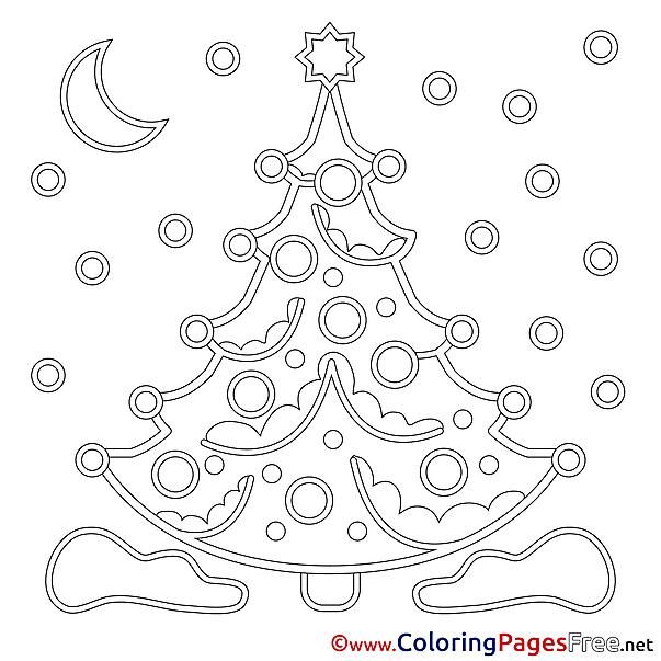 Snow Night Tree Christmas Coloring Pages free