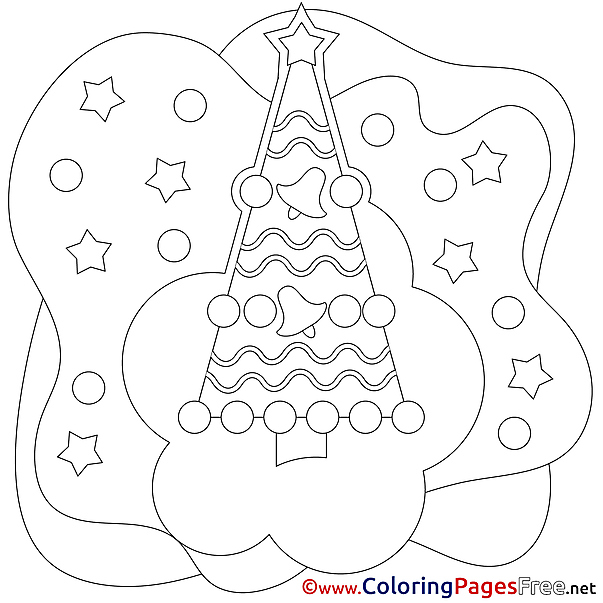 Stars Tree Children Christmas Colouring Page