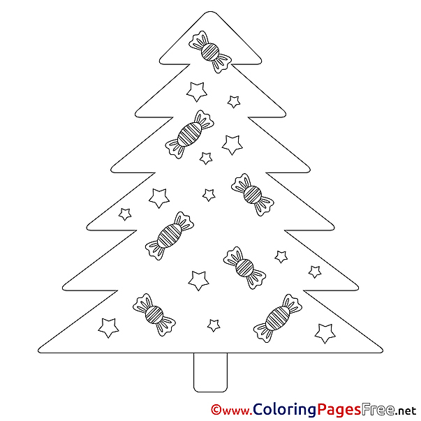 Sweets free Colouring Page Christmas
