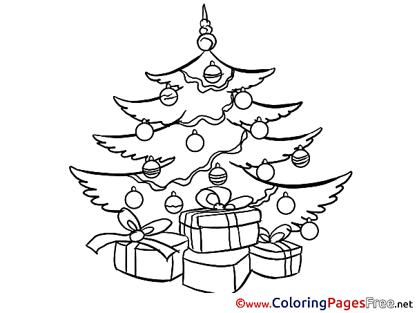 Tree Colouring Sheet download Christmas