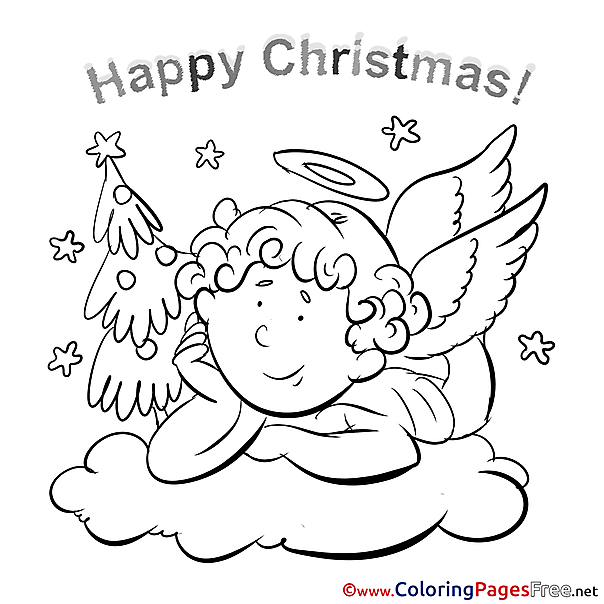 Wings Angel Coloring Sheets Christmas free