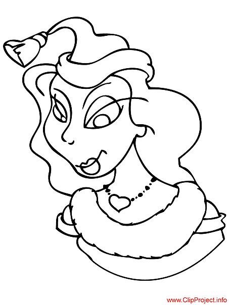 Woman coloring sheet for Christmas