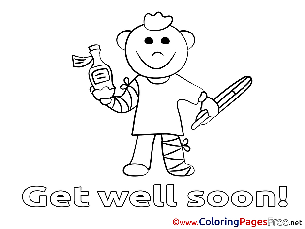 Boy Coloring Pages Get well soon