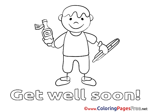 Boy free Get well soon Coloring Sheets