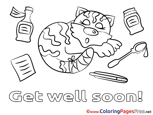 Cat Get well soon Coloring Pages download